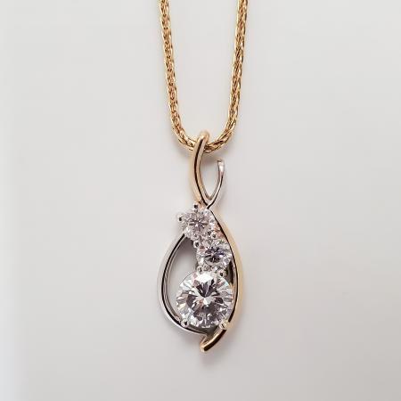 Custom three diamond pendant