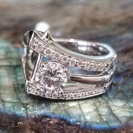 Flared custom diamond ring cropped