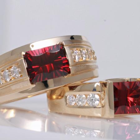 His  hers custom garnet rings