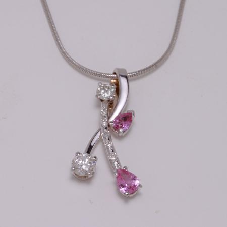 Pink sapph  diamond pendant