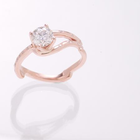 Rose gold twig ring image 2