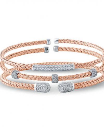 Rose gold overlay stacked bracelets