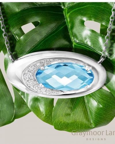 Blue topaz ellipse pendant