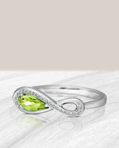 Peridot infinity shape ring cropped