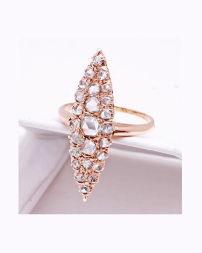 Rose gold vintage mine cut diamond ring