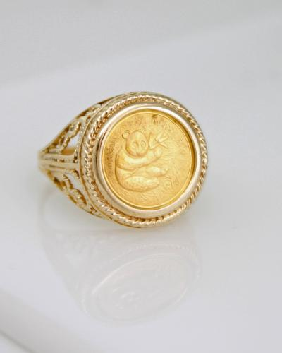 Gold panda coin estate ring