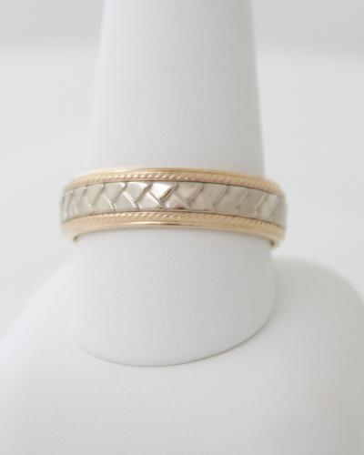 Mens two tone braided wedding band