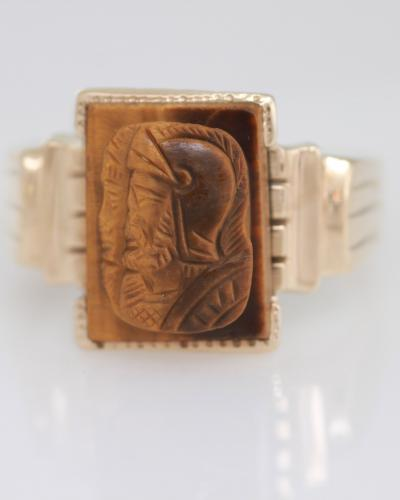 Mens yellow gold vintage tiger eye quartz carved intaglio ring