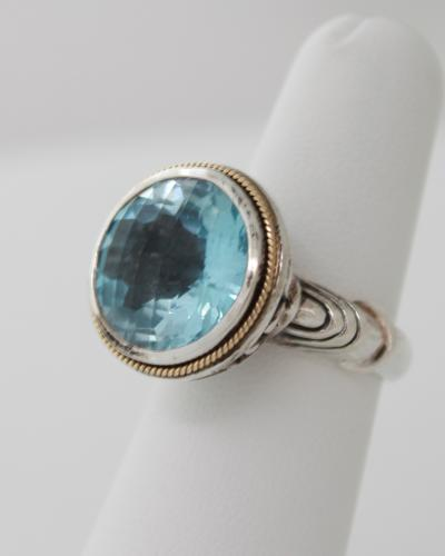 Sterling silver and gold effy blue topaz bezel ring