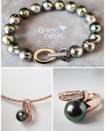 Tahitian pearl bracelet ring and pendant