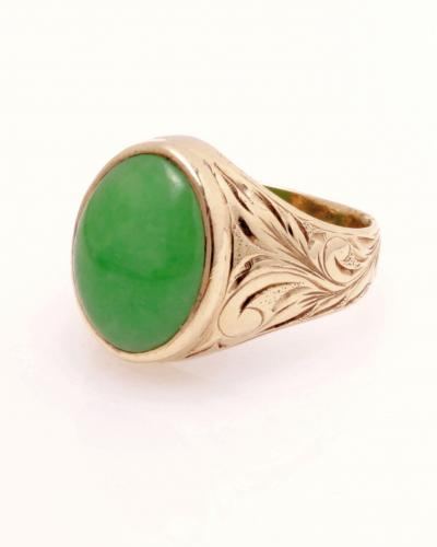 Jade in 14ky engraved ring  888 1545